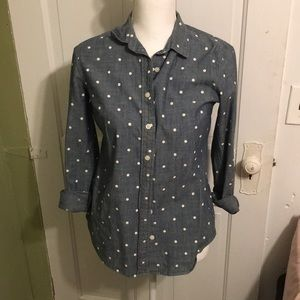 Polka dot j crew button down